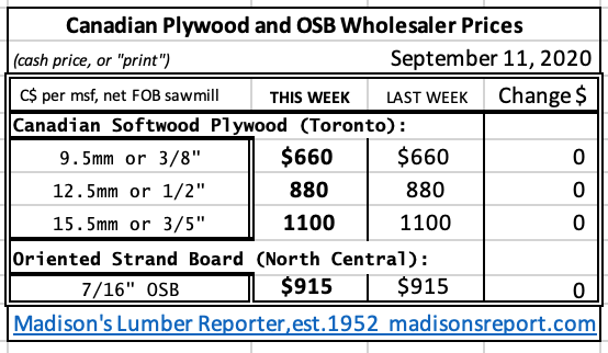 Canadian Softwood Plywood and OSB Prices Sept 2020