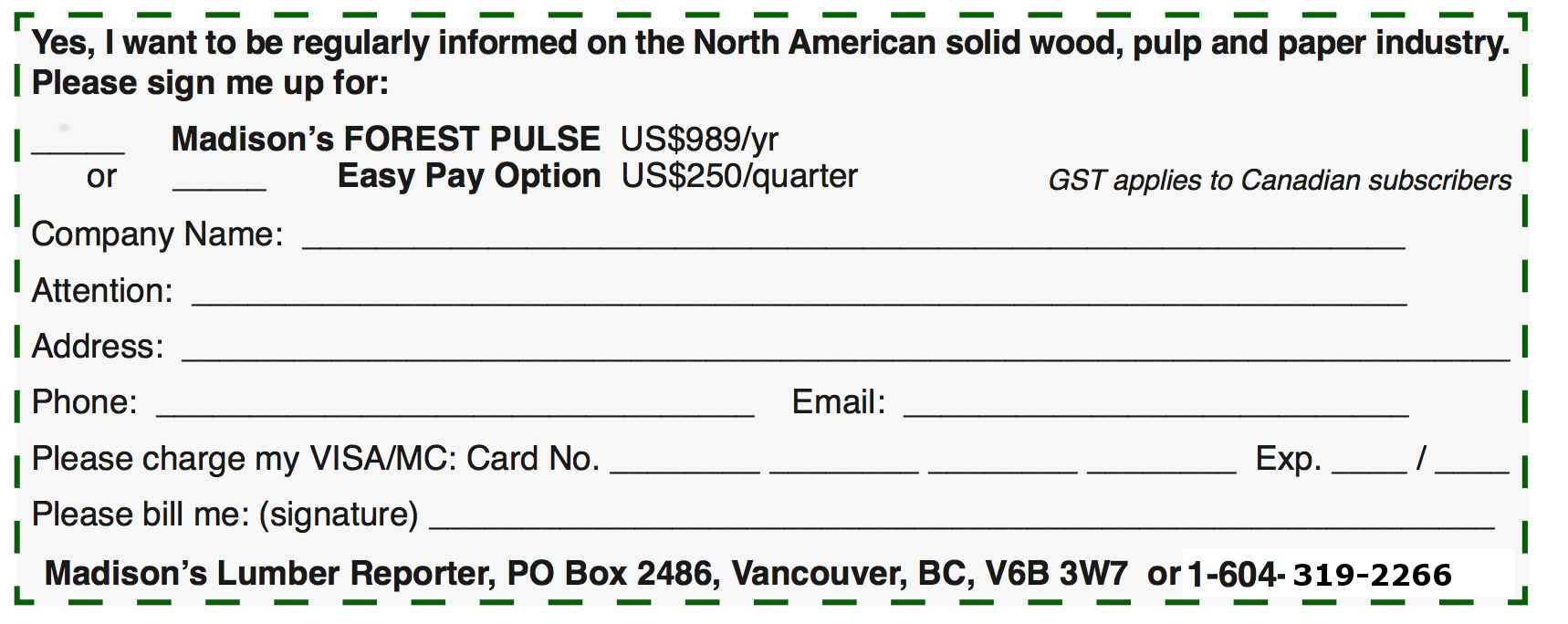 Madison's Forest Pulse Order Form