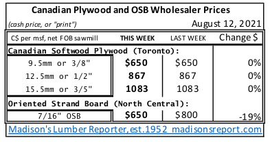 Canadian Plywood and OSB Wholesaler Prices: AUGUST 2021